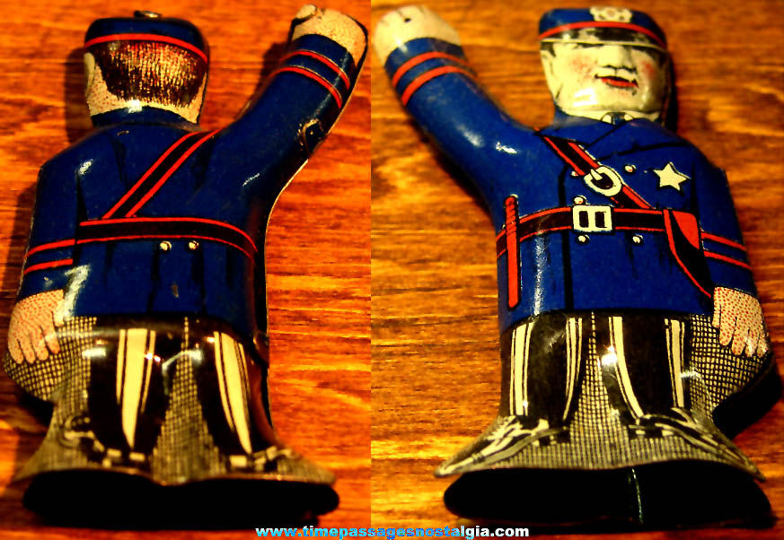 Colorful 1931 Cracker Jack Pop Corn Confection Lithographed Tin Policeman Novelty Toy Prize Figure