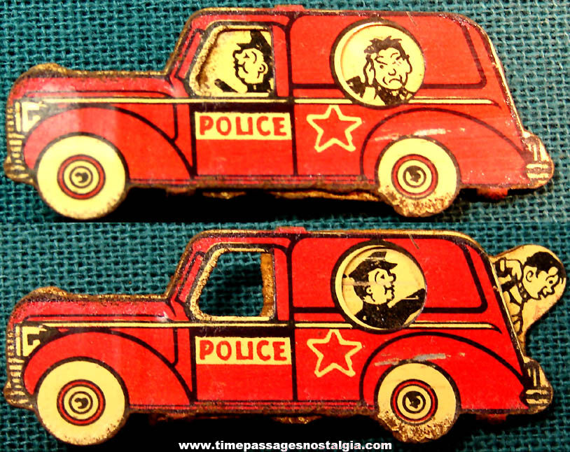 Colorful Old Cracker Jack Pop Corn Confection Lithographed Tin Mechanical Police Car Novelty Toy Prize