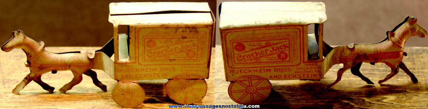 Rare Large Early 1900s Cracker Jack Pop Corn Confection Advertising Miniature Lithographed Tin Toy Prize Delivery Horse & Wagon