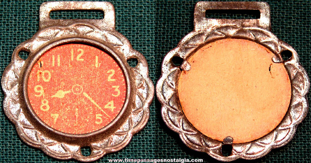 Old Cracker Jack Pop Corn Confection Embossed Tin & Paper Toy Prize Pocket Watch
