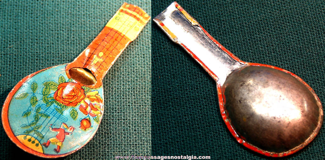 1930s Cracker Jack Pop Corn Confection Miniature Lithographed Tin Toy Prize Mandolin Musical Instrument Whistle