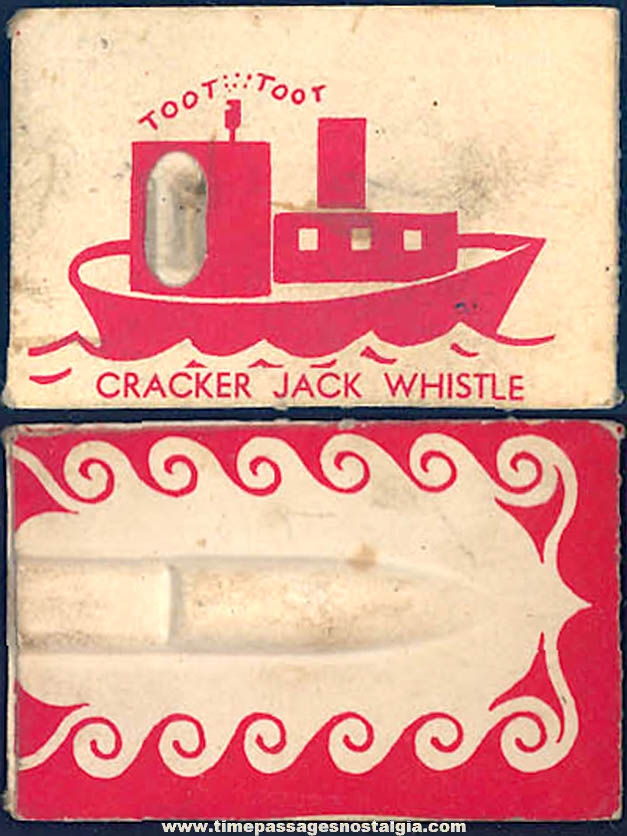 ©1948 Cracker Jack Pop Corn Confection Carey Cloud Toy Prize Paper Tug Boat Whistle