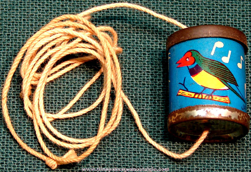Colorful Old Cracker Jack Pop Corn Confection Lithographed Tin Toy Bird Spinner Whistle Prize