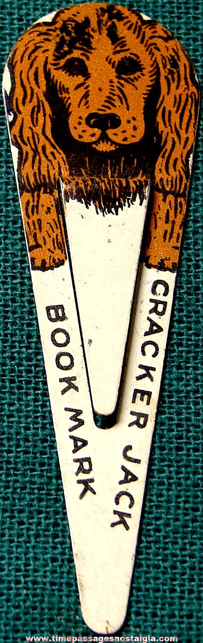 1940s Cracker Jack Pop Corn Confection Lithographed Tin Toy Prize Cocker Spaniel Dog Book Mark