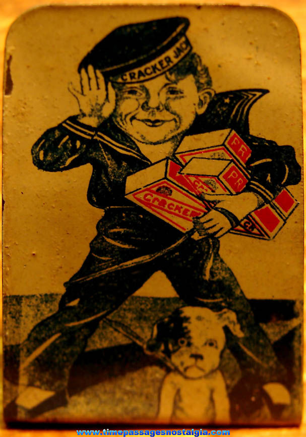 Rare 1910s Cracker Jack Pop Corn Confection Advertising Lithographed Tin Sailor Jack & Bingo Stand Up Toy Prize