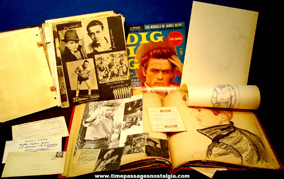 (2) Old James Dean Scrap Books with Drawings Pictures Photographs and Articles