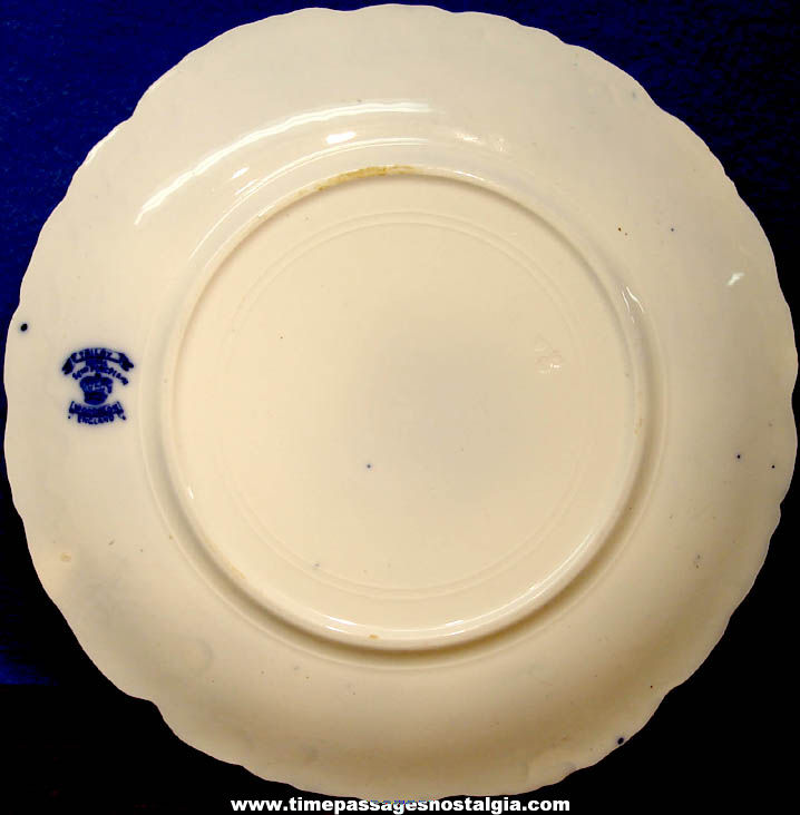 Old John A. Andrews & Company New Britain Connecticut Advertising Premium Flow Blue China Plate
