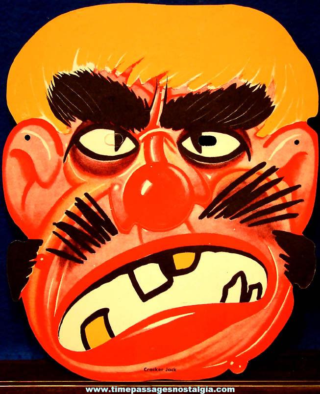 Colorful 1930s Cracker Jack Pop Corn Confection Advertising Novelty False Face Halloween Premium Mask