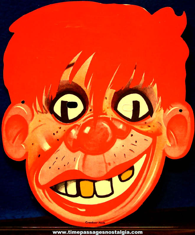 Colorful 1930s Cracker Jack Pop Corn Confection Advertising Novelty False Face Halloween Premium Mask