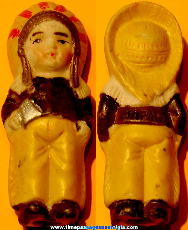 1930s Cracker Jack Pop Corn Confection Porcelain or Bisque Toy Prize Native American Indian Figure