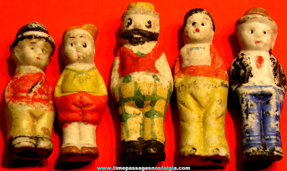 (5) Different 1930s Cracker Jack Pop Corn Confection Porcelain Bisque Comic Character Toy Prize Figures