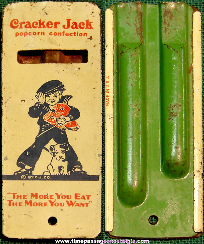 1936 Cracker Jack Pop Corn Confection Advertising Two Tone Lithographed Tin Whistle Toy Prize