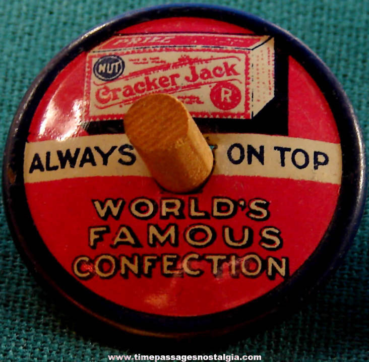 1931 Cracker Jack Pop Corn Confection Advertising Lithographed Tin Toy Spinner Top Prize