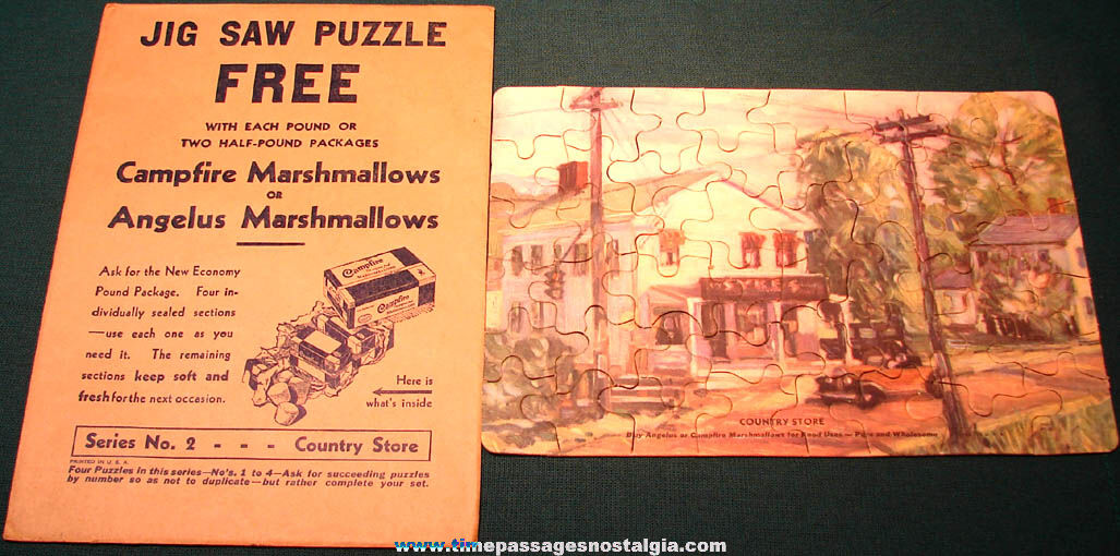 Old Angelus & Campfire Marshmallows Advertising Premium Jig Saw Puzzle #2 with Envelope