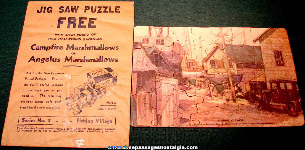 Old Angelus & Campfire Marshmallows Advertising Premium Jig Saw Puzzle #3 with Envelope