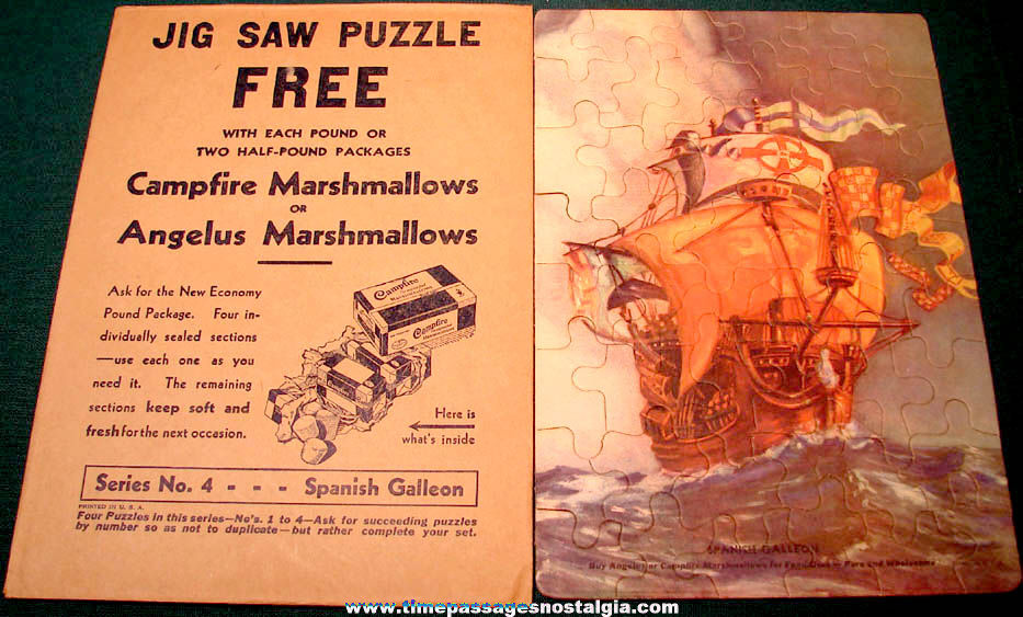 Old Angelus & Campfire Marshmallows Advertising Premium Jig Saw Puzzle #4 with Envelope