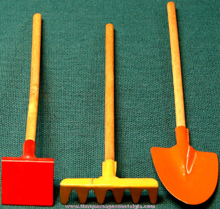 (3) Different 1930s Cracker Jack Pop Corn Confection Toy Prize Tin & Wood Garden Tools