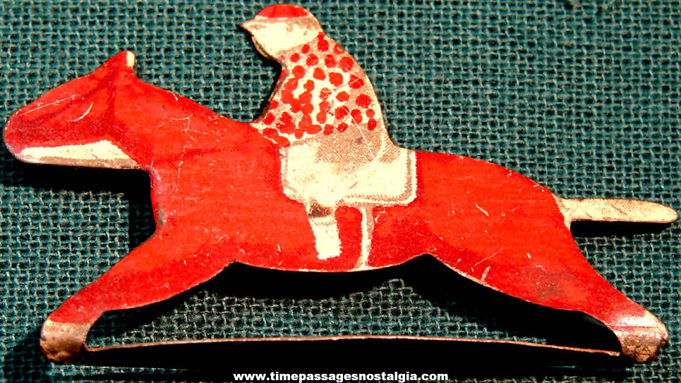 1930s Cracker Jack Pop Corn Confection Race Horse with Jockey Stand Up Lithographed Tin Toy Prize