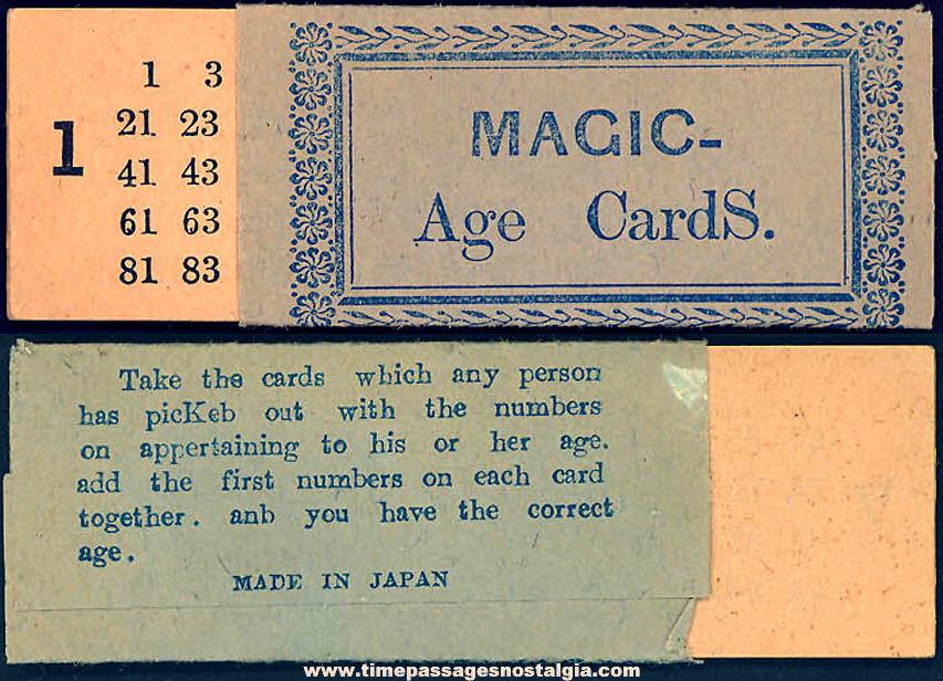 1938 Cracker Jack Pop Corn Confection Paper Toy Prize Magic Age Cards Set