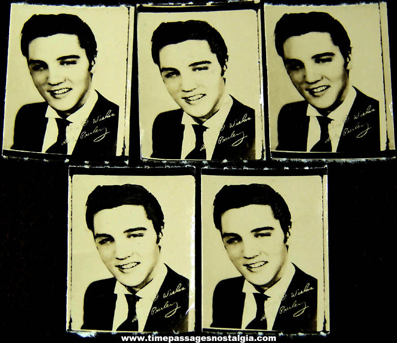 (5) Small Old Matching Young Elvis Presley Necklace Pendant or Charm Bracelet Charm Photographs