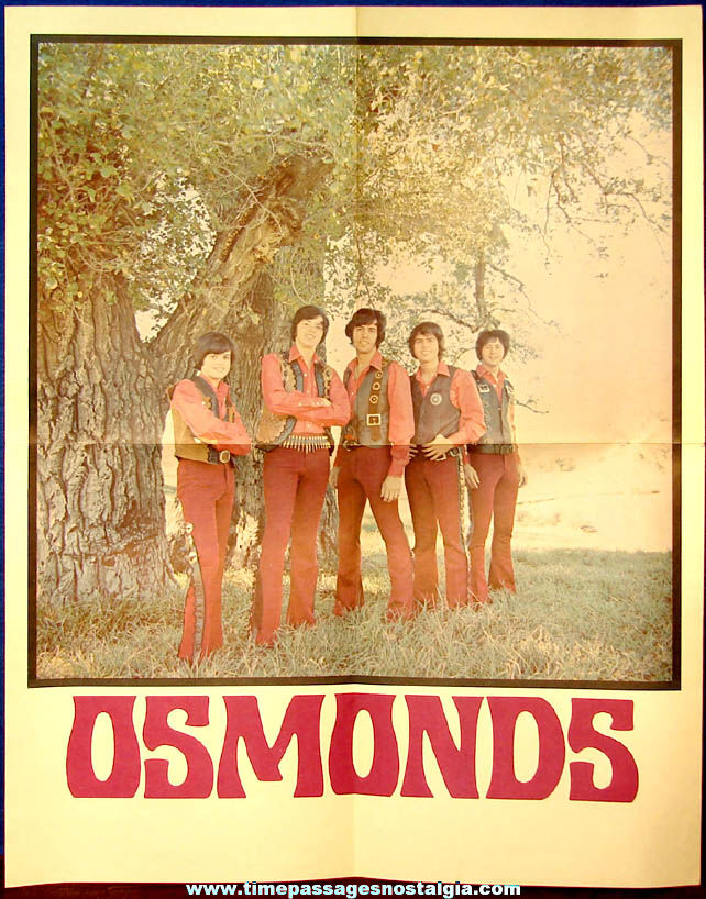 Colorful Unused 1970s Osmond Brothers Wall Poster