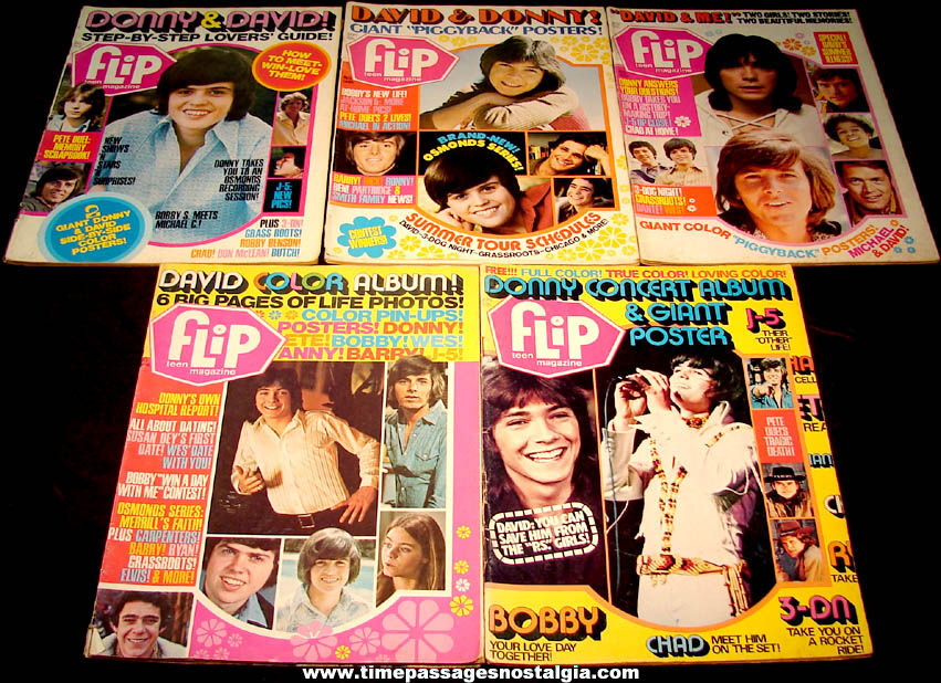 (5) Different 1971 – 1972 Flip Teen Music & Celebrity Magazines With Posters