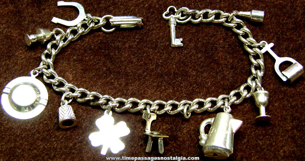Jewelry Charm Bracelet with (11) Different Miniature Household Type Metal Charms
