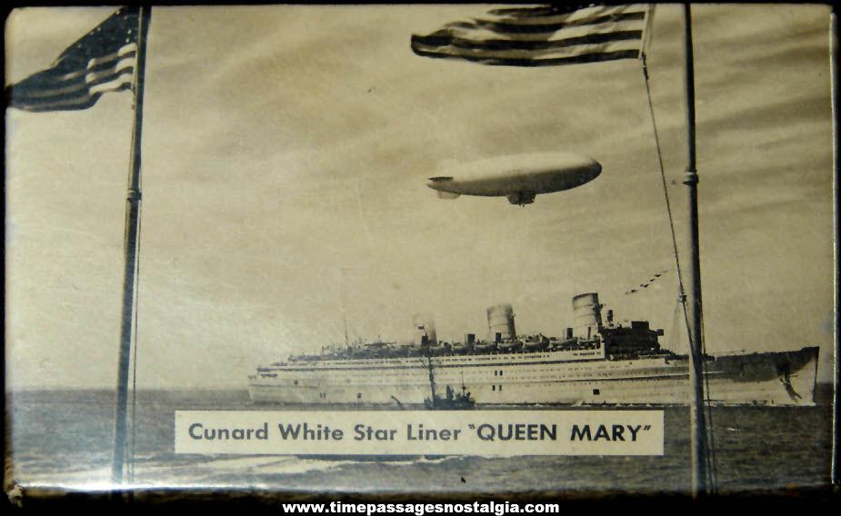 Old Cunard White Star Liner Queen Mary & U.S. Navy Air Ship Advertising Souvenir Pocket Mirror