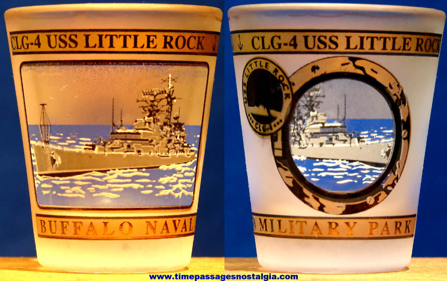 United States Navy U.S.S. Little Rock CLG-4 Cruiser Ship Advertising Souvenir Shot Glass