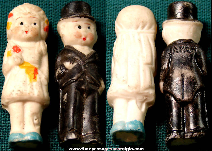 (2) Different 1930s Cracker Jack Pop Corn Confection Painted Porcelain or Bisque Toy Prize Doll Wedding Figures