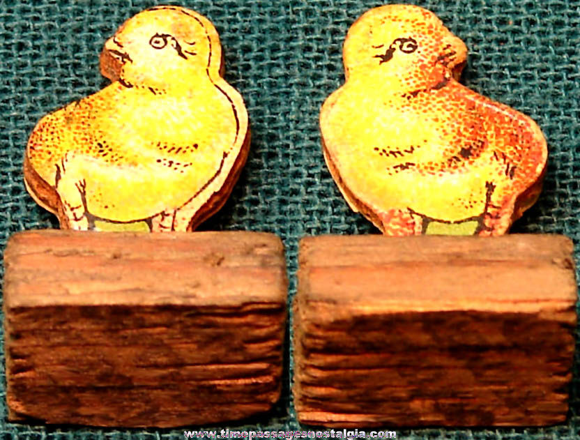1930s Cracker Jack Pop Corn Confection Paper & Wood Baby Chicken Chick Figure