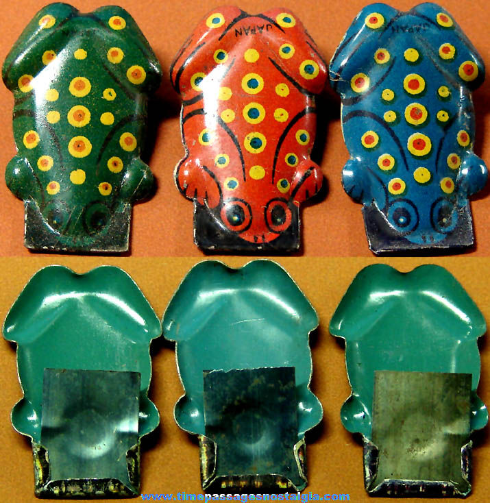 (3) Different Old Cracker Jack Pop Corn Confection Lithographed Tin Toy Prize Frog Clickers
