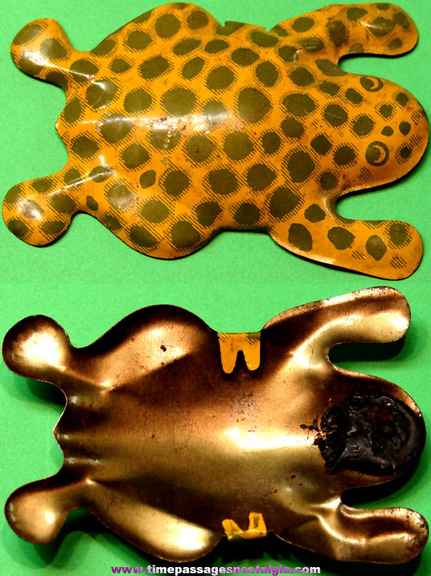 Old Cracker Jack Pop Corn Confection Lithographed and Embossed Tin Toy Prize Jumping Frog