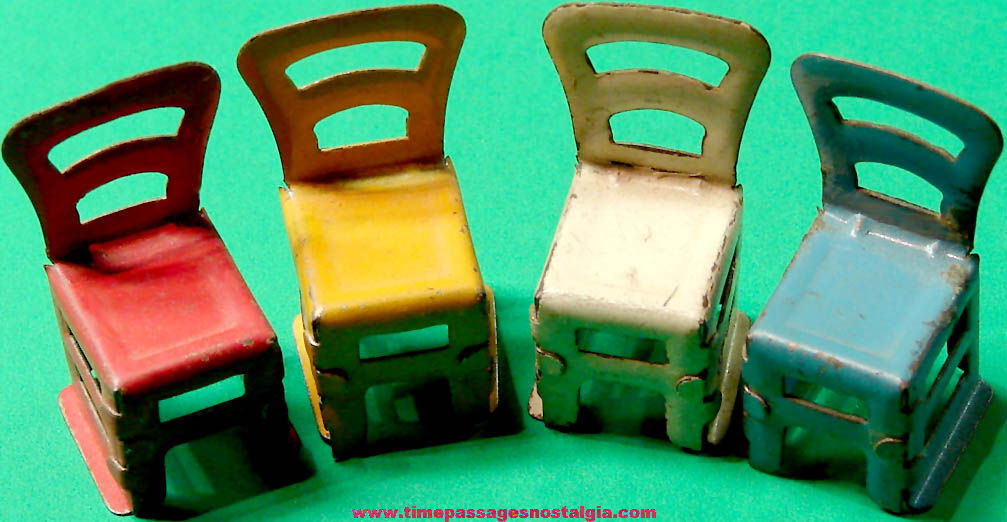 (4) Different Color 1920s Cracker Jack Pop Corn Confection Miniature Tin Toy Prize Chairs