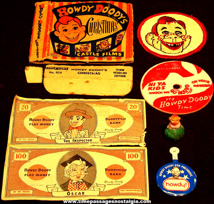 (7) Different Small Old Howdy Doody Western Television Puppet Character Related  Items