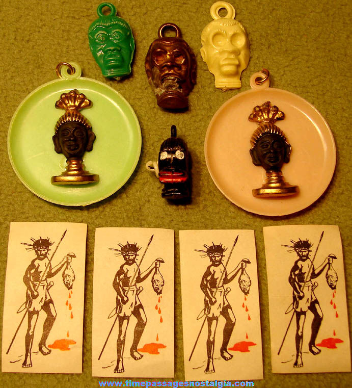 (10) Small Old Black or African Themed Gum Ball Machine Prize Charms and Advertising
