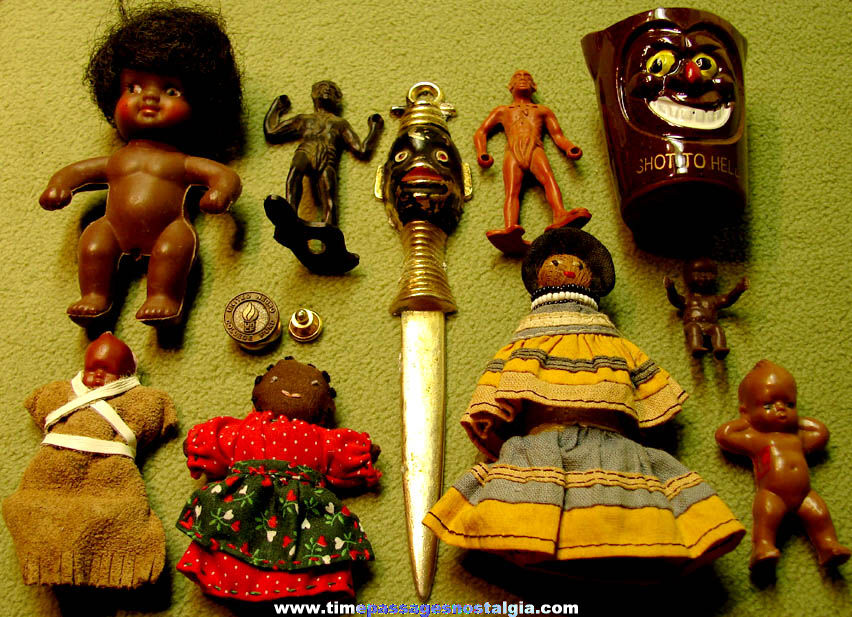 (11) Different Small Old Black or African Related Toys and Other Items