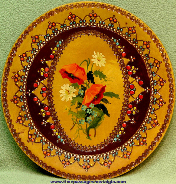 Colorful Old Romanian Embossed and Hand Painted Wooden Souvenir Wall Hanging Plate