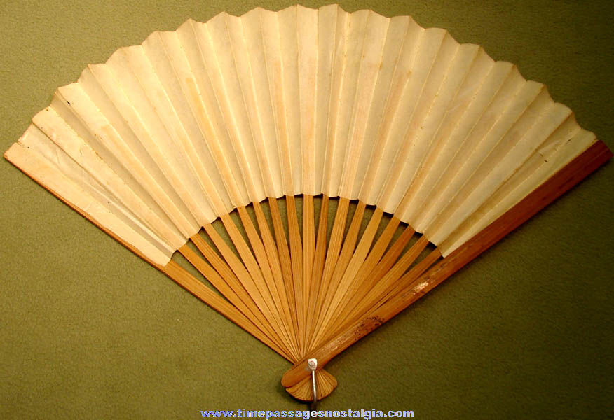 Colorful Old Scenic Taiwanese Paper and Wood Hand Fan
