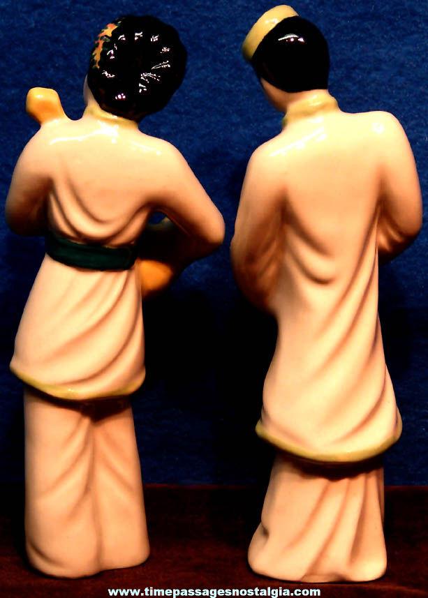 (2) Different Old Ceramics Art Studio Japanese Musician Ceramic Figurines