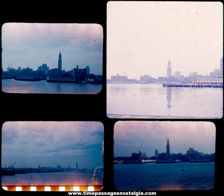 (4) 1947 Boston Massachusetts Harbor Skyline Color Photograph Slides