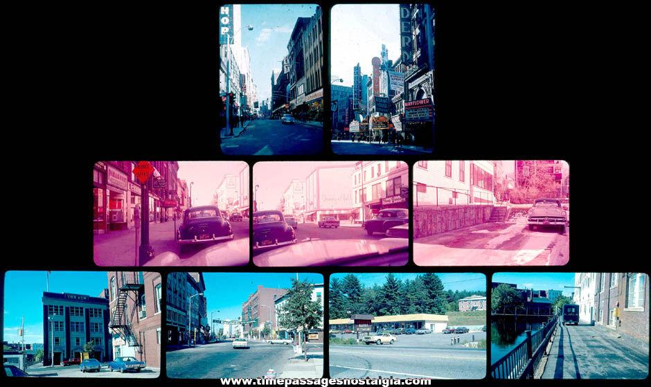 (9) 1950s - 1970s Boston & Lowell Massachusetts Color Photograph Slides