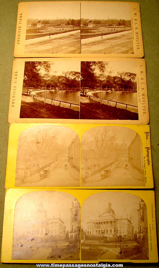 (4) Different Old Boston Massachusetts Stereoview Photograph Cards