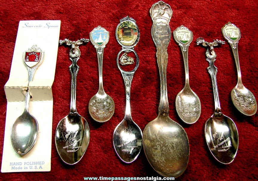 (8) Small or Miniature New Hampshire Advertising Souvenir Collector Spoons