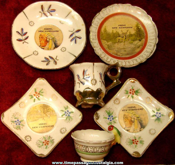(6) Old Keene New Hampshire Advertising Souvenir Miniature Porcelain Tea Cups & Saucer Plates
