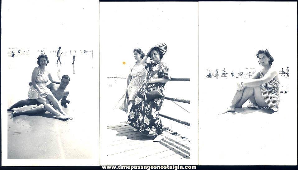 (3) 1941 Wildwood New Jersey Beach & Boardwalk Ladies Black & White Photographs
