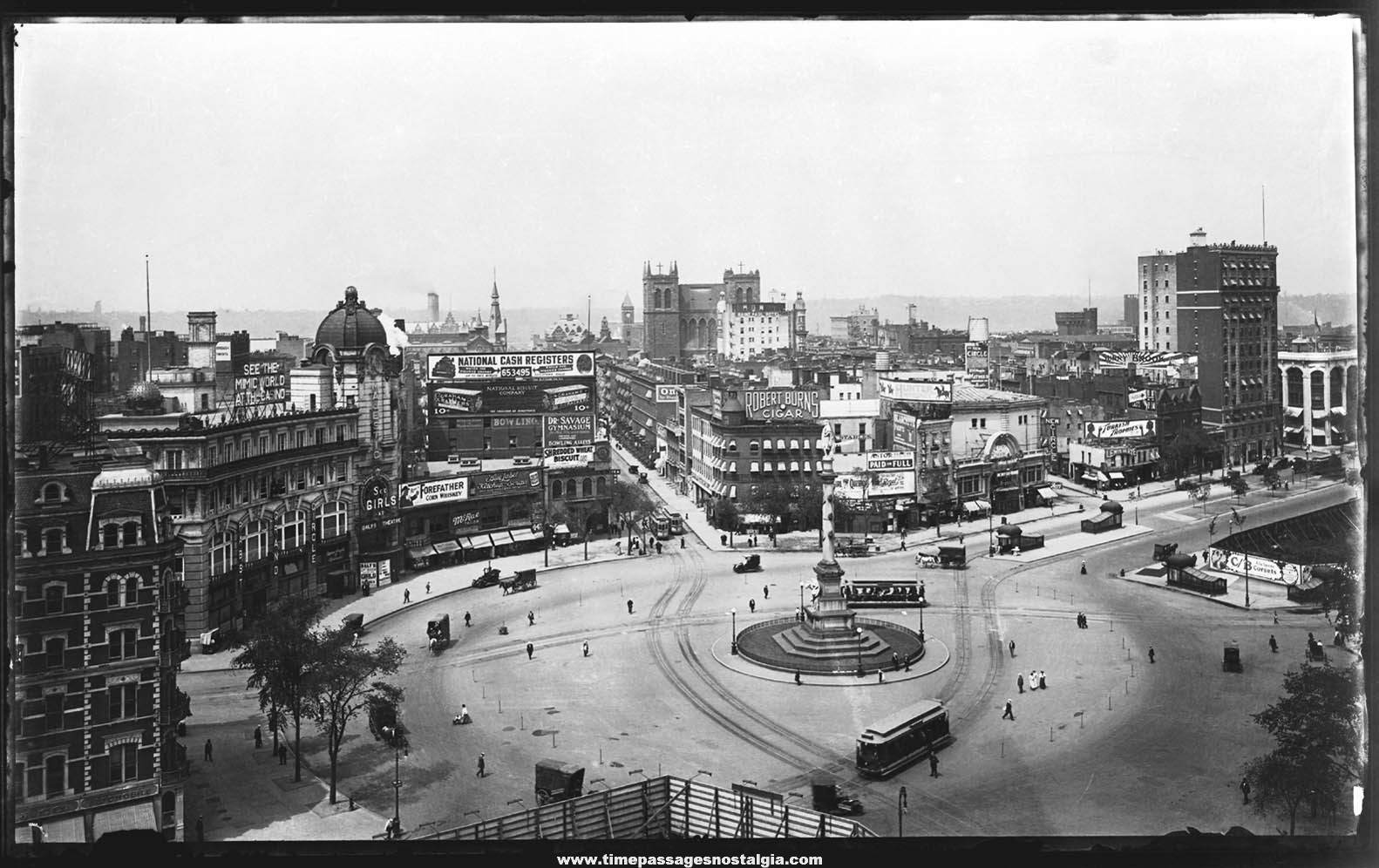 Early Rare Columbus Circle Manhattan New York Large Format Photograph Negative