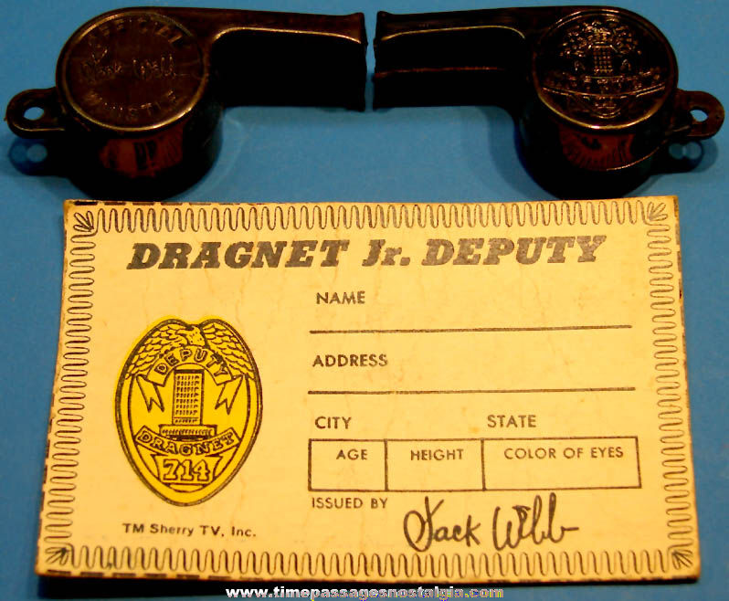 1955 Kellogg's Corn Flakes Cereal Jack Webb Dragnet Police ID Card and (2) Toy Whistles