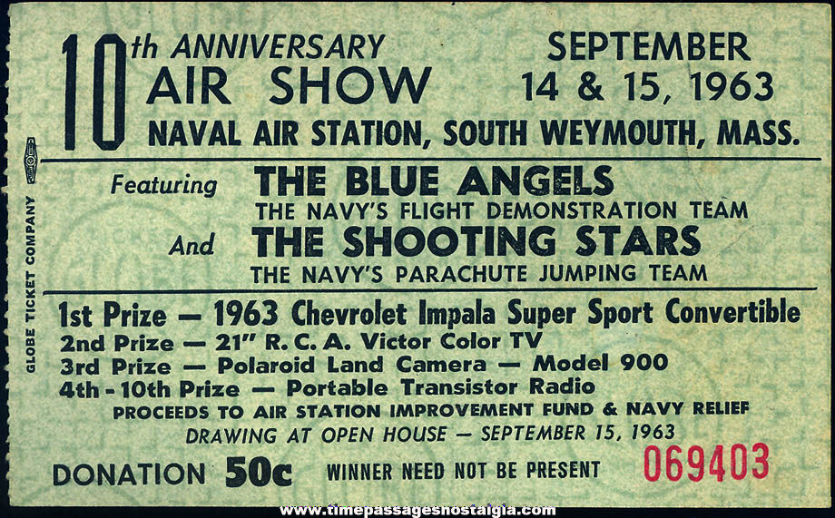 1963 South Weymouth Massachusetts Naval Air Station Air Show Advertising Ticket