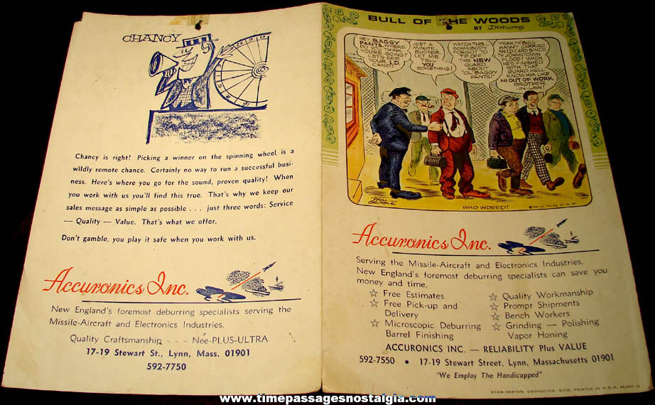 Old Accuronics Inc. Missile Aircraft Electronics Cartoon or Comic Advertisement
